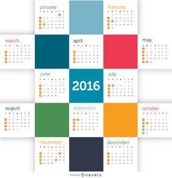 Calendário de mosaico 2016