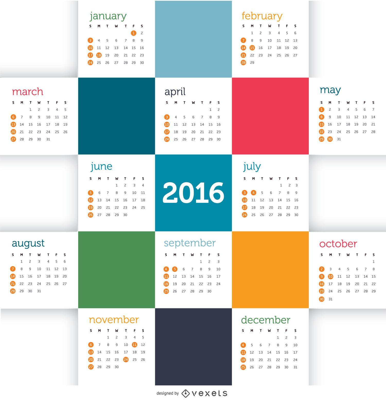Calendario de mosaico 2016