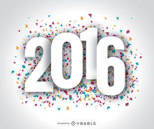 Frohes Jahr 2016 Konfetti-Tapete