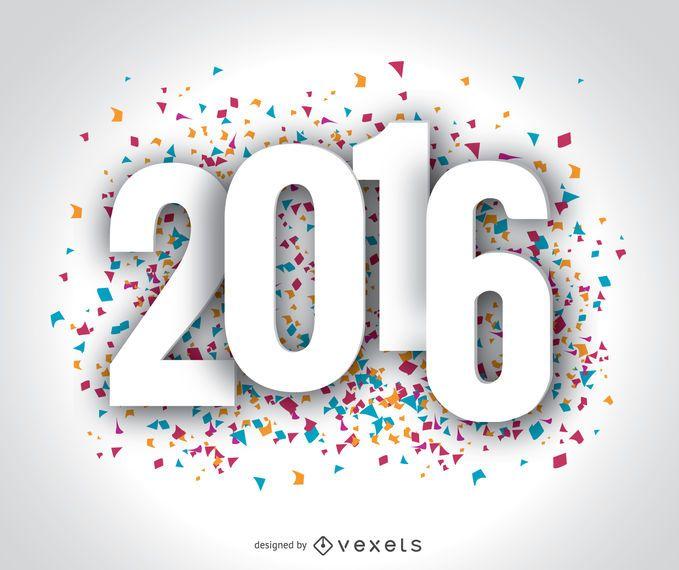 Fondo de pantalla de confeti feliz año 2016