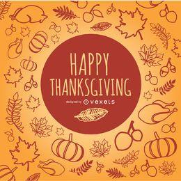 Garabatos de Acción de gracias feliz