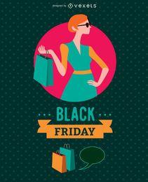 Viernes negro mujer con bolsa de compras