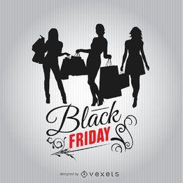 Sexta-feira negra compras silhuetas de mulheres