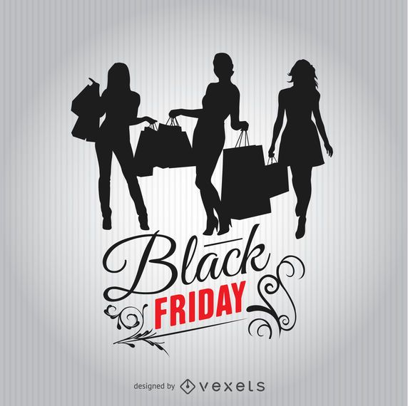 Black Friday shopping women silhouettes