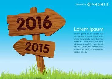 2015 a 2016 en concepto de cartel de madera