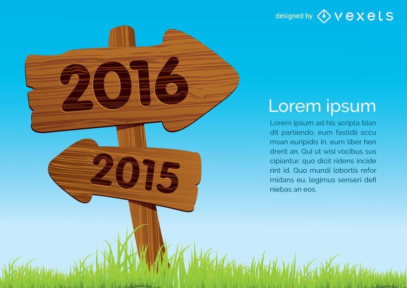 2015 heraus 2016 im Holzschildkonzept