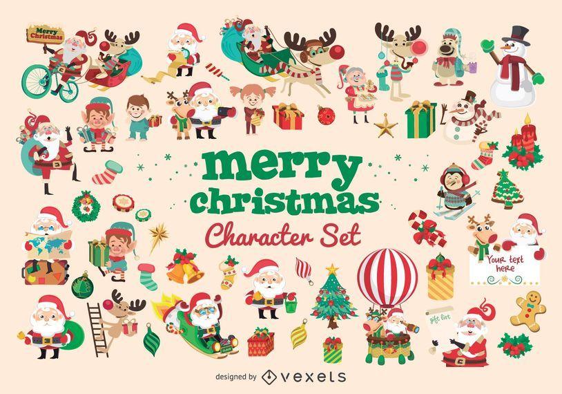 Gran conjunto de personajes de dibujos animados de Navidad