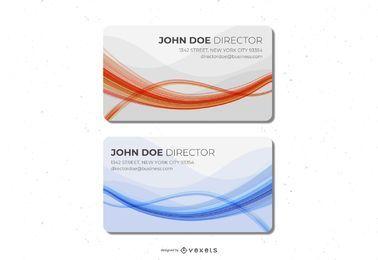 Blaue orange Wellen-Visitenkarte