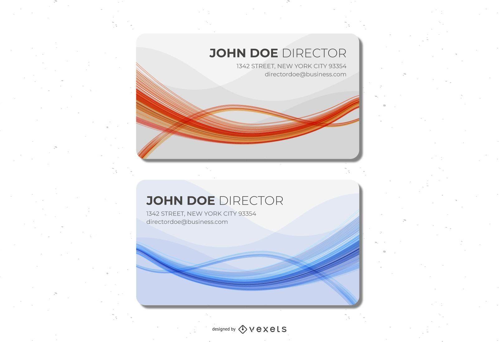 Tarjeta de visita azul naranja ondas