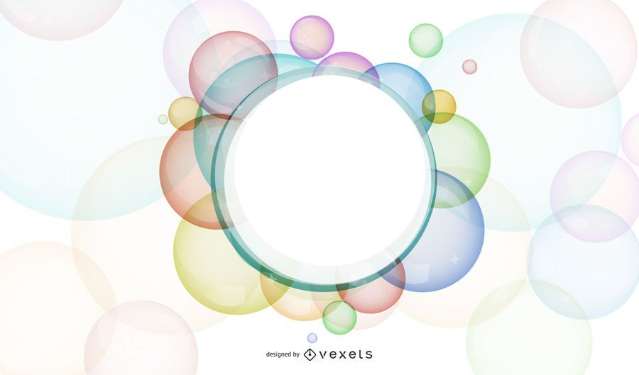 Banner de quadro branco de bolhas coloridas