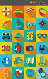 Travel Icons colorful drop shadow