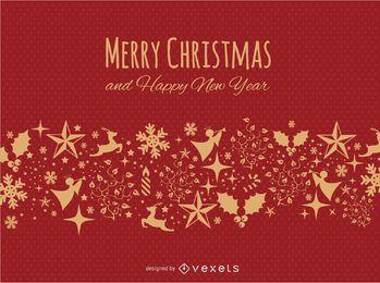 Feliz navidad rojo y postal dorada