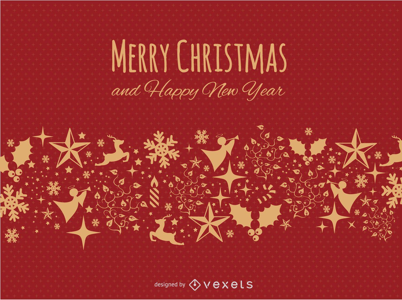 Postal feliz Navidad roja y dorada