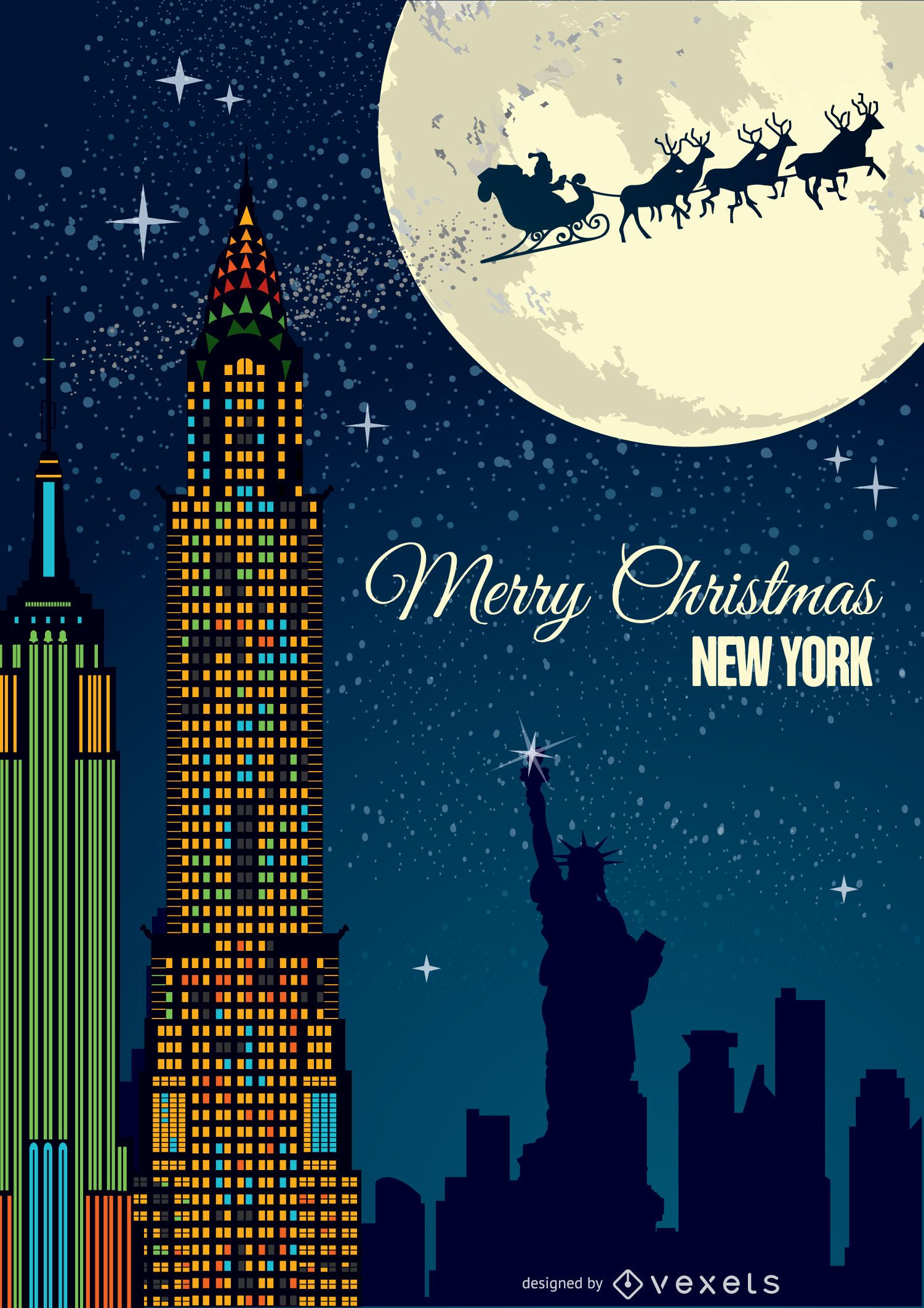 Christmas In New York Postcard Vector Download