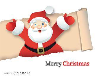 Papai Noel saindo de papel rasgado