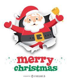 Papá Noel con campana en papel rasgado