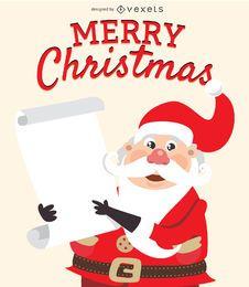 Papai Noel engraçado com lista de presentes