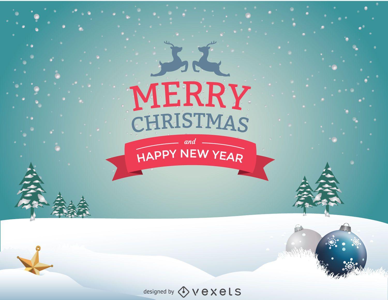 Snow Christmas landscape message