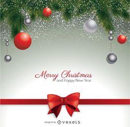 Postal navideña con lazo rojo y bolas navideñas