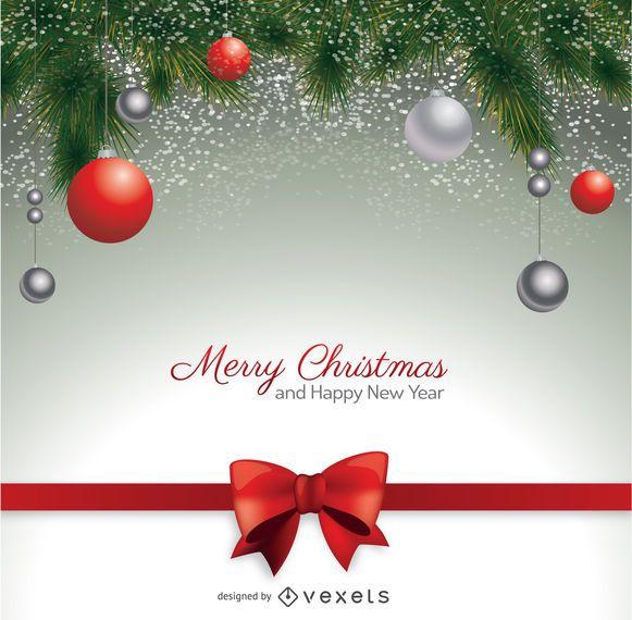 Postal de Natal com bolas vermelhas de laço e Natal