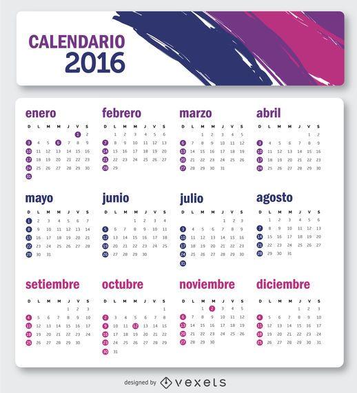 Calendário simples de 2016 em espanhol