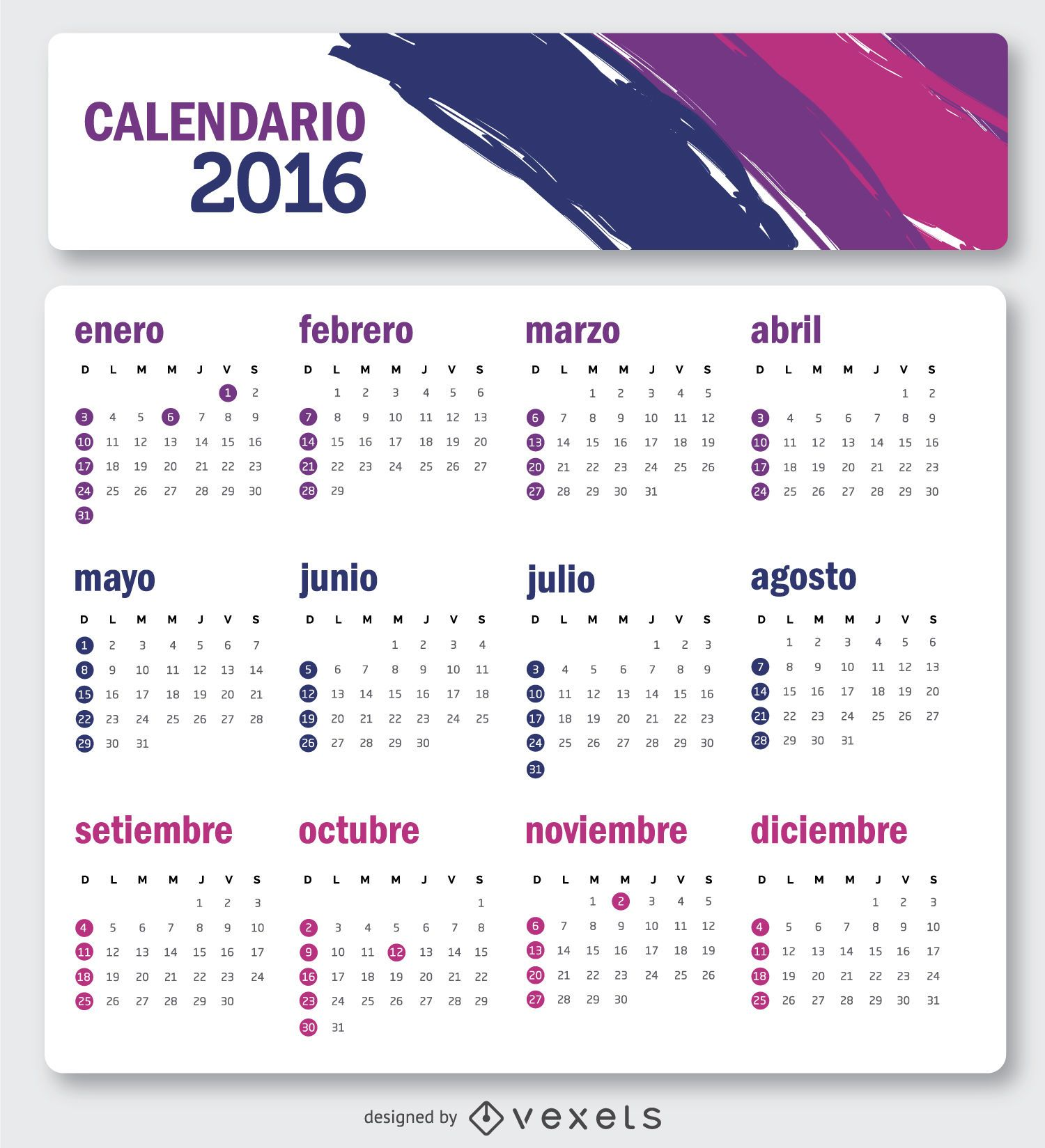 Simple 2016 calendar in Spanish - Vector download