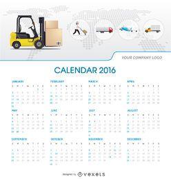 2016 calendário de calendário tempalte