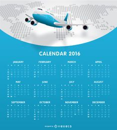 Tempalte do calendário da Airlines 2016