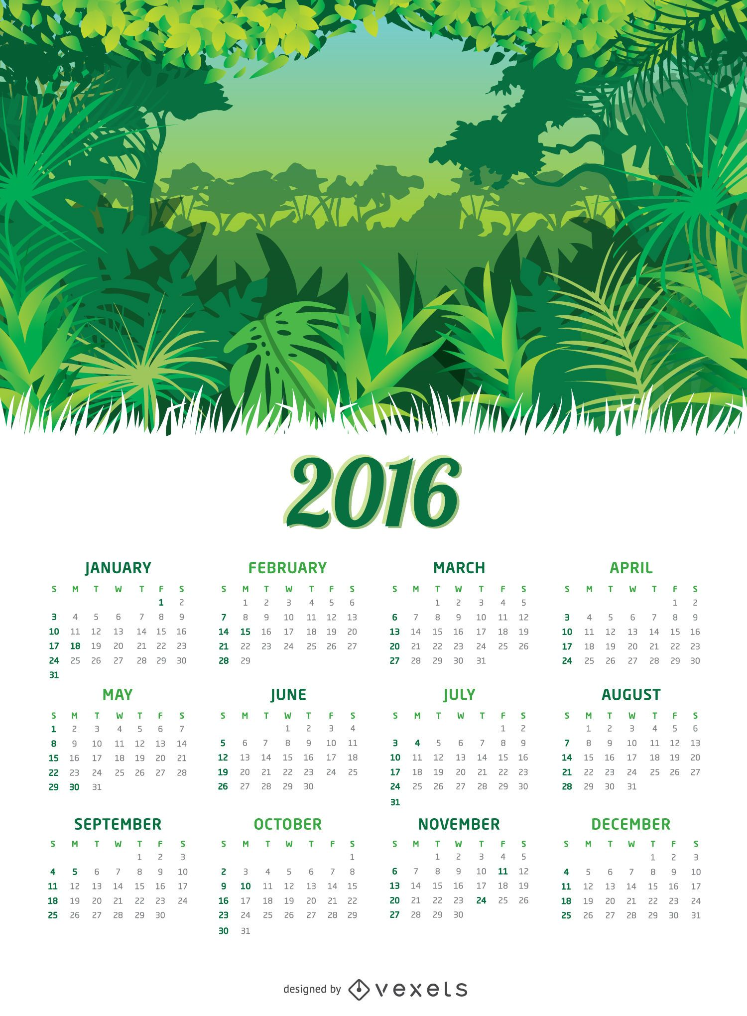 Calendario Jungle 2016