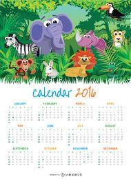 Niños Animal 2016 calendario
