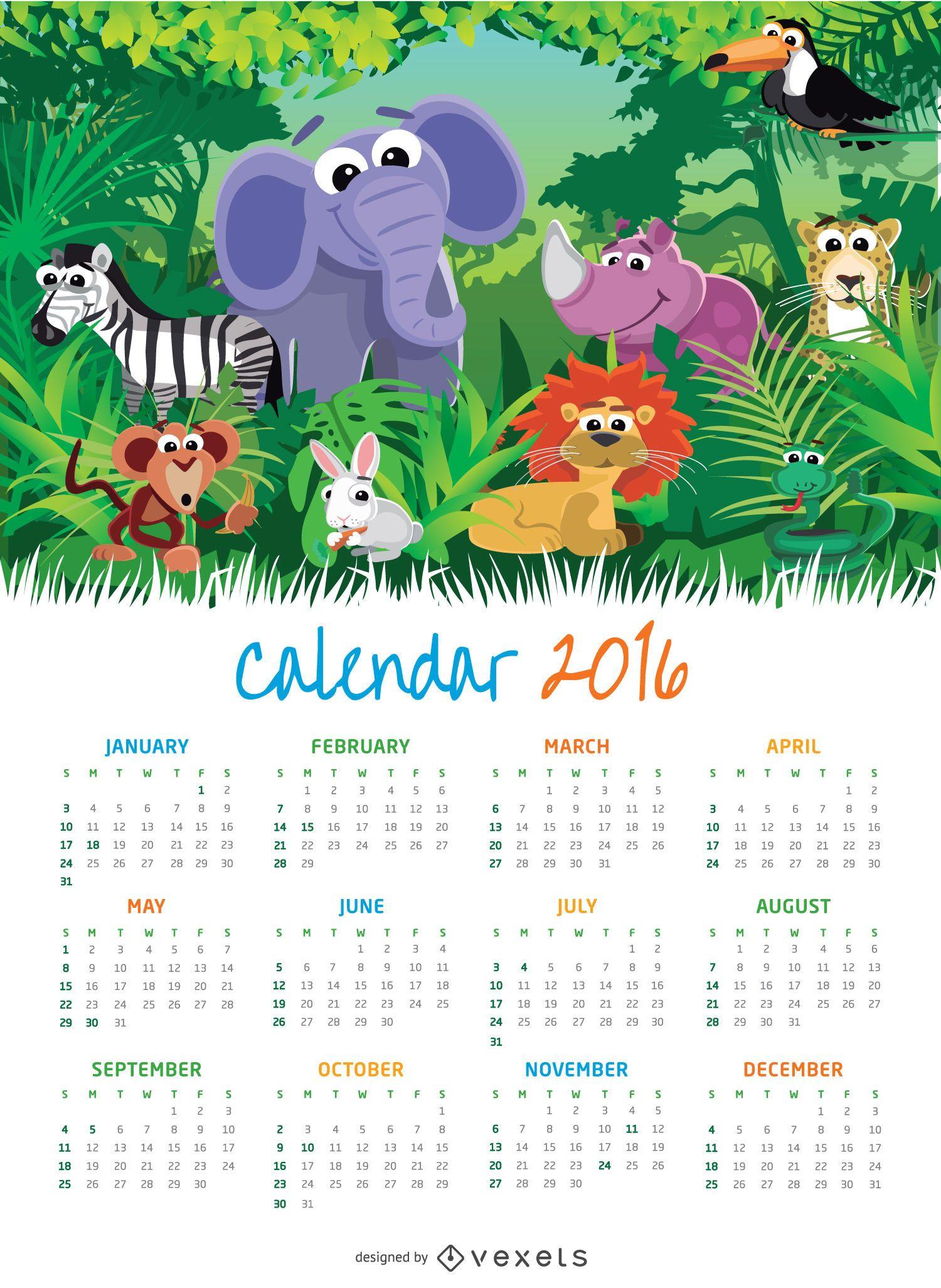 Niños Animal 2016 calendario - Descargar vector