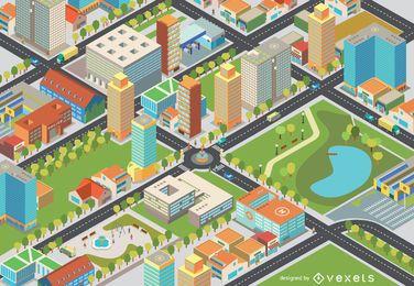 Paisagem urbana isométrica - Fácil Editar