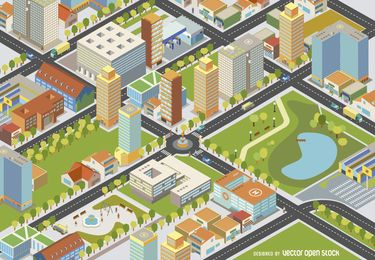 Paisaje urbano isométrico - Fácil de Editar