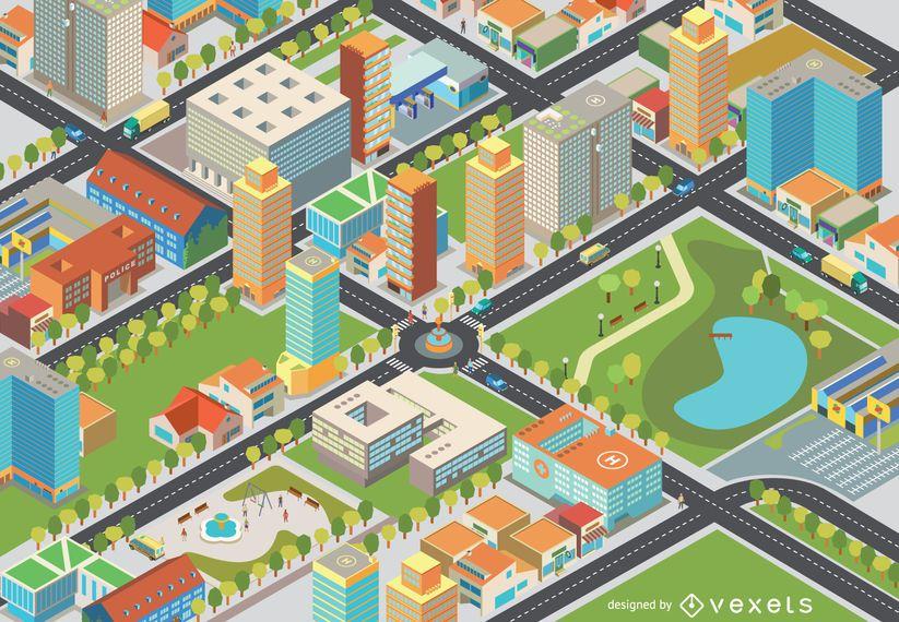 Paisagem urbana isométrica - edição fácil