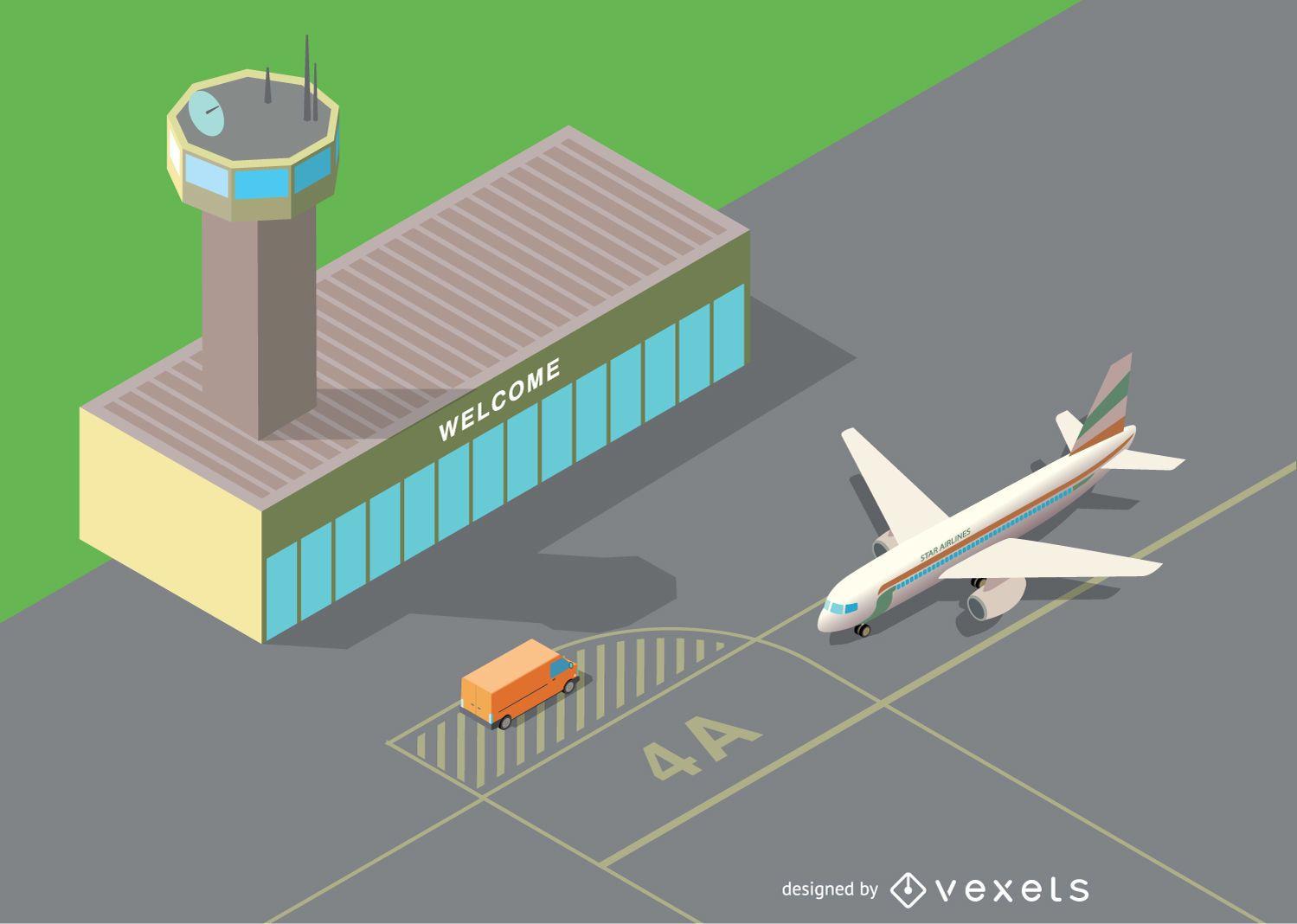 Aeropuerto isométrico