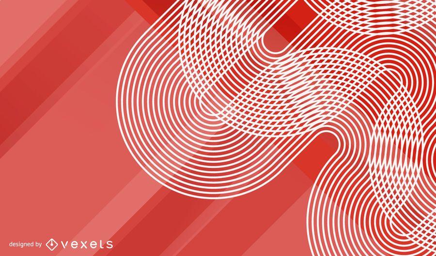 Fundo de meio-tom de ondas vermelhas