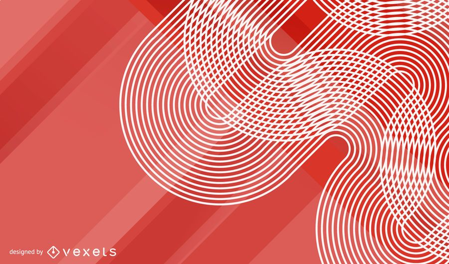 Red Waves Halftone Background