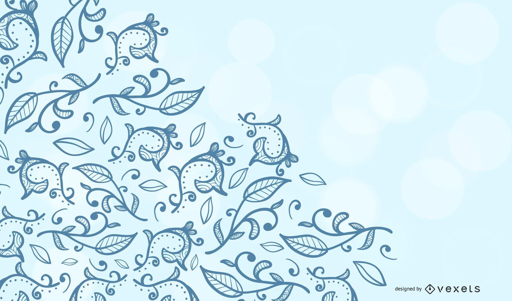 Blue Summer Swirls Background