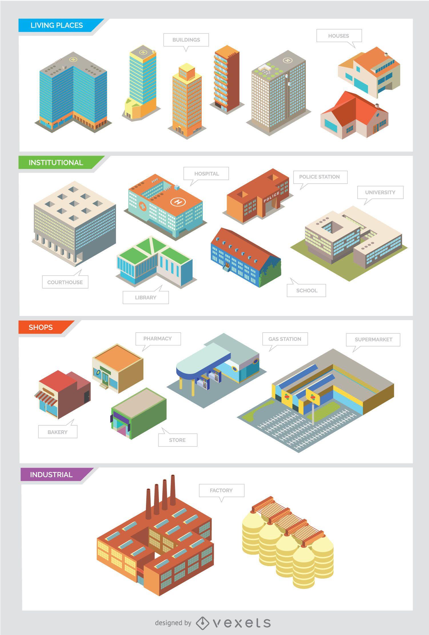 Edificios de la ciudad: aislados e isométricos