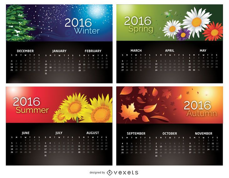 Calendar 2016 - 4 Seasons - Vector download