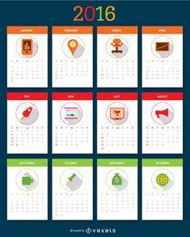 Calendário de desktop 2016