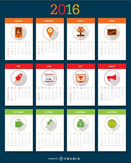 Calendário do desktop de 2016