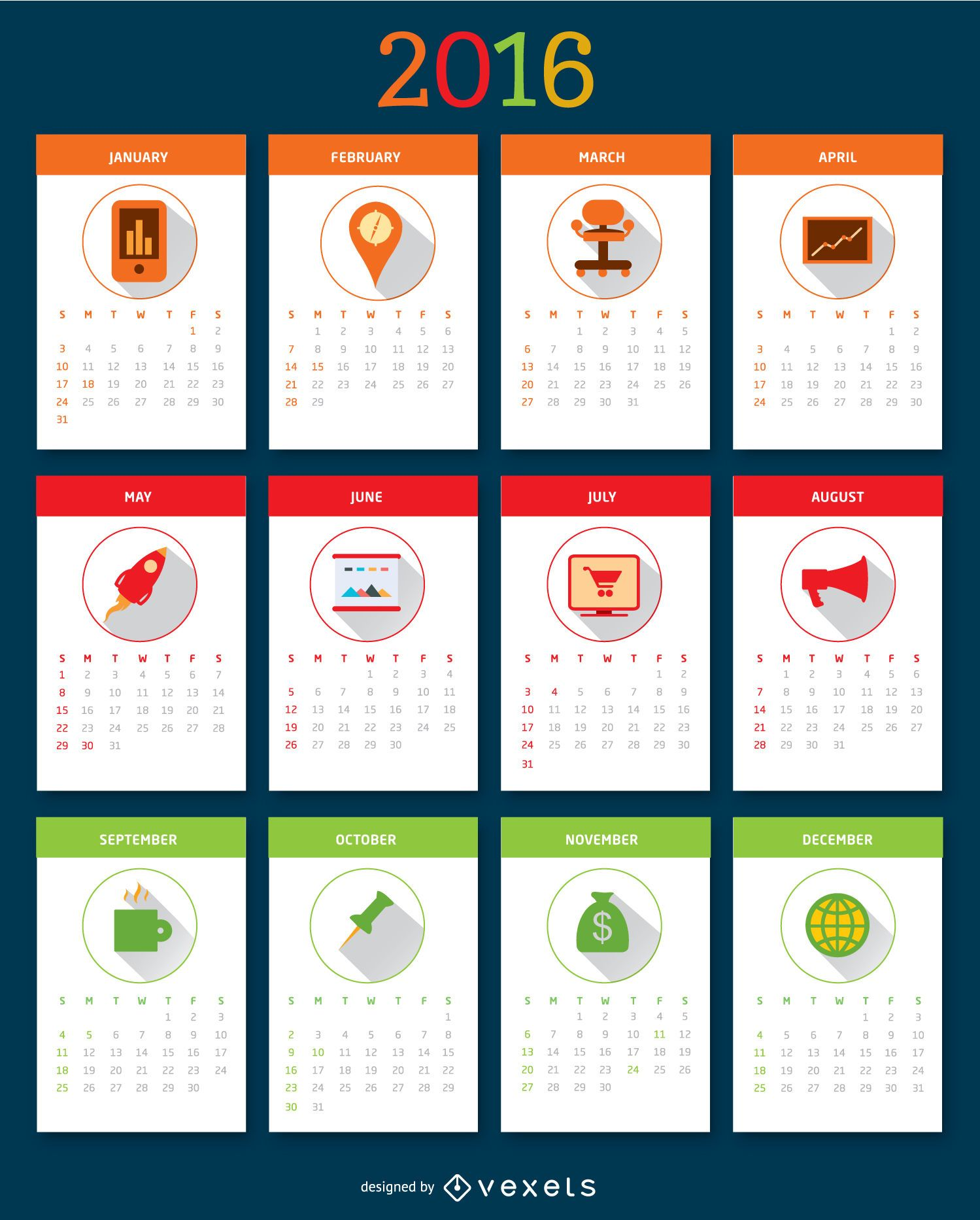 2016 desktop calendar