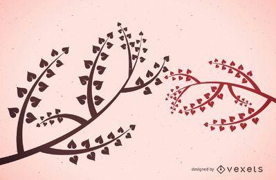 Coração folhas galhos de árvores