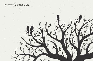 Pombinhos em galhos de árvores