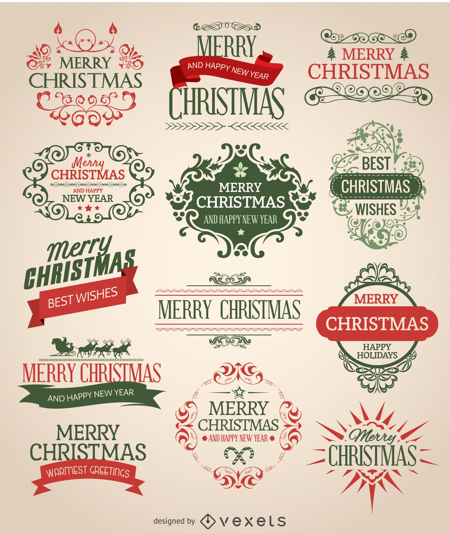 Christmas emblem set