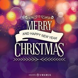 Frohe Weihnachten-Abzeichen über Bokeh-Hintergrund