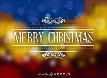 Sello de feliz Navidad sobre bokeh abstracto