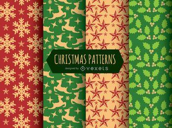 4 patrones sin costuras de navidad