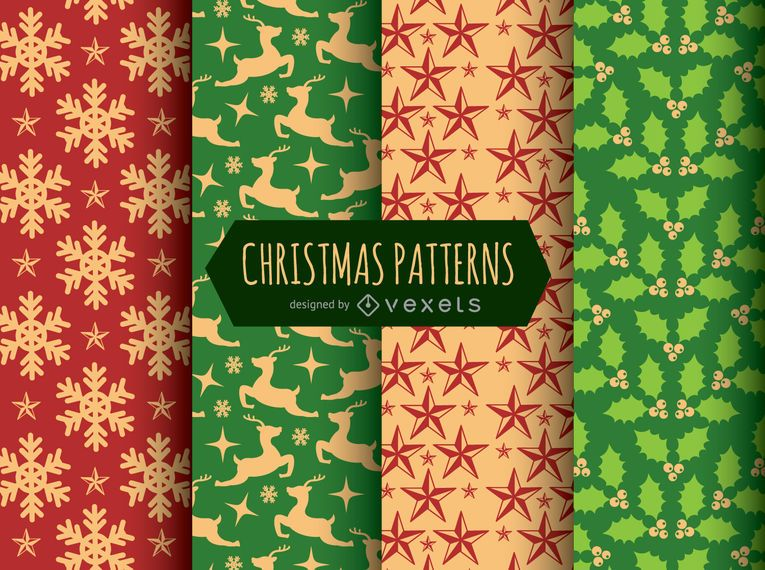 4 Christmas seamless patterns
